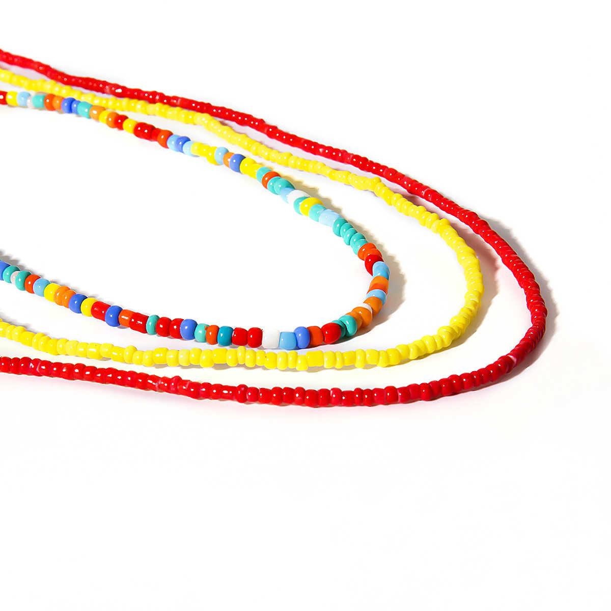 7Pcs מותניים בוהמיים חרוז גוף תכשיטי ביקיני קיץ חוף אפריקאי צועני חגורת צבעוני חרוזים בטן גוף שרשרת לנשים בנות