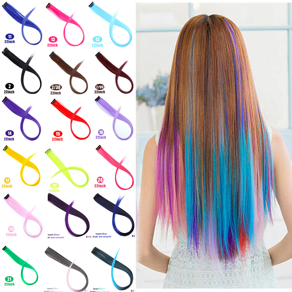 Lupu Colorful Sequins Synthetic Hair Clip Women's Wig Long Stripe Long Straight Hair Rainbow Hair Extensions