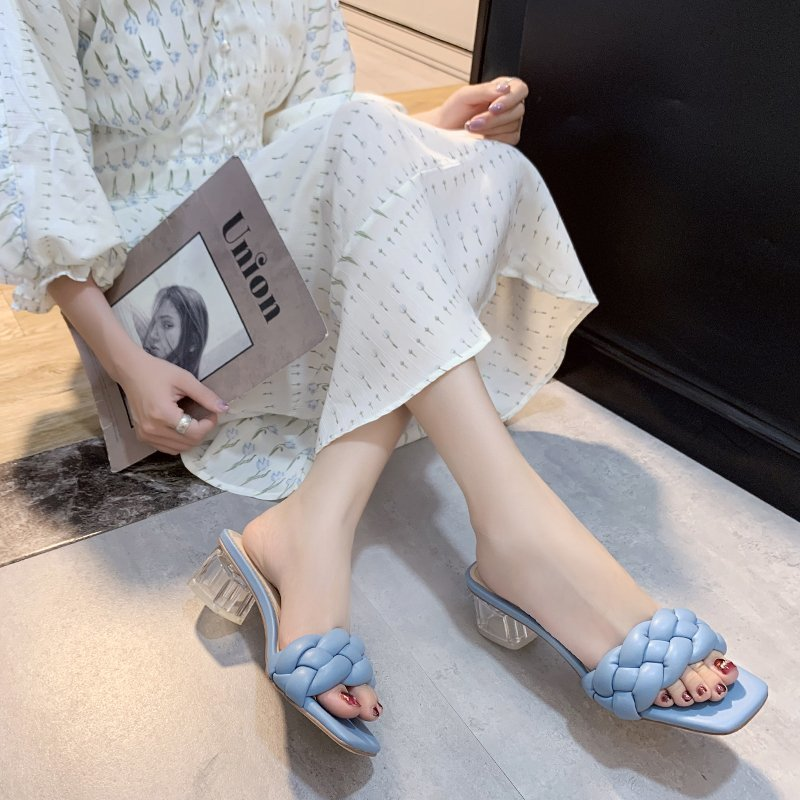 Transparent High Heels Sexy Ladies Woman Slippers New Summer Shoes Square Heel Weave Square Toe Slippers Ladies Leather Shoes 5