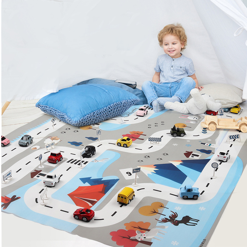 130x100cm Kids Portable Play Mat Nordic White Blue Children Traffic Parking Scene Map Car City Water Proof Folding Game Pad