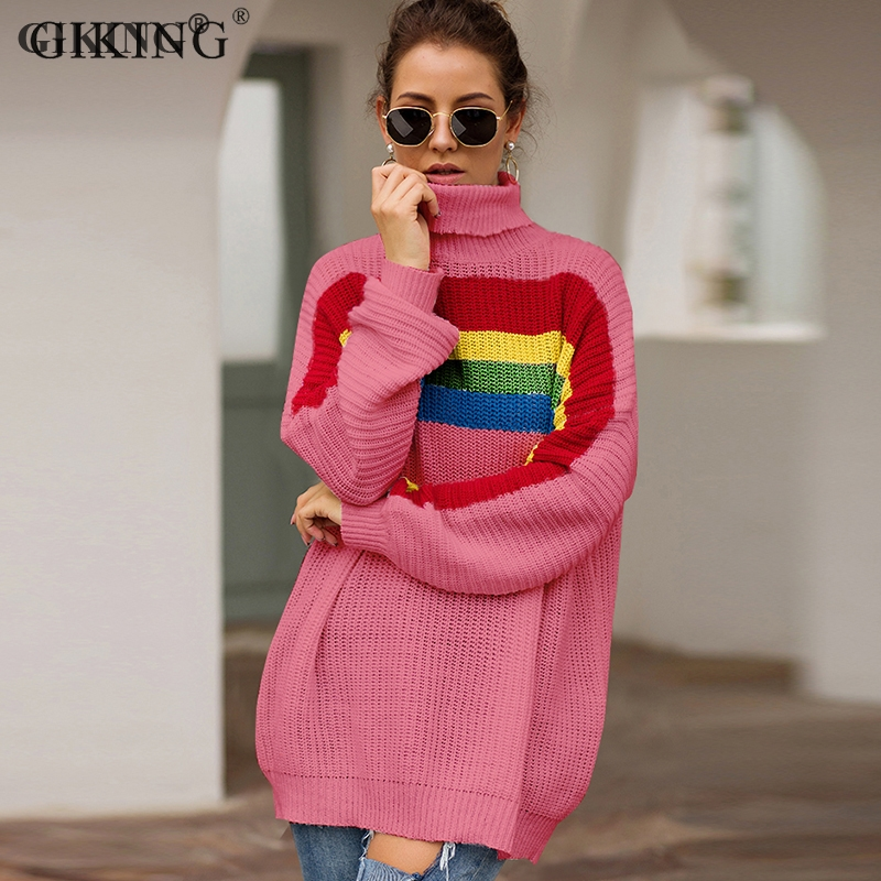 GIKING Turtleneck Rainbow Sweater Women Pullovers Streetwear Long Sleeve Christmas 2019 Autumn Winter Knitted Sweaters