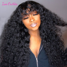 ISEE Hair Outlets Water Wave Wigs With Bangs For Women 180% Density Malaysia Water Wave Human Hair Wig Glueless Full Machine Wig