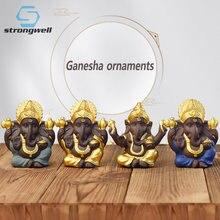 Strongwell Indian Ganesha posąg buddy piaskowiec Fengshui ozdoby medytacja miniaturowa figurka rzemiosło dekoracji wnętrz