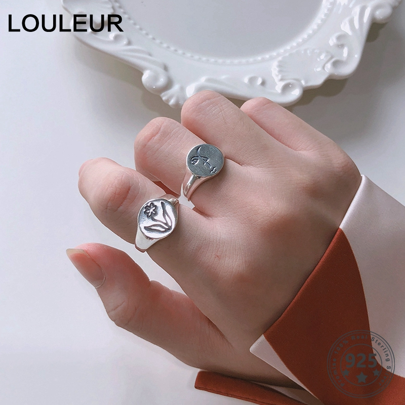 LouLeur 925 Sterling Silver Rings For Women Round Sculpture Human Face Flower Unique Rings For Sister Elegant Silver 925 Jewelry