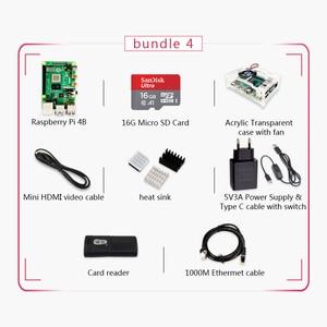 Image 5 - מקורי פטל Pi 4 דגם B 4G ערכת Pi 4 לוח מיקרו HDMI כבל אספקת חשמל עם מתג מקרה עם מאוורר חום כיורים
