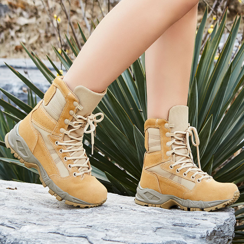 Cheetah Combat Boots Sandy Color Men And Women Outdoor Tactical Boots Combat Boots Breathable Cushioning Hight-top Desert Boots