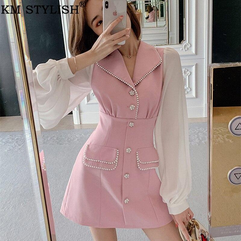 Femme rose à manches longues perle rayé robe revers simple boutonnage faux deux pièces femmes en mousseline de soie 2019 début automne costume robe
