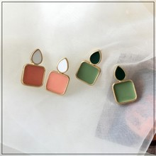 LANIWOO Geometric Square Stud Earring Japan and South Korea Retro Beautiful 2021 New Fashion Jewelry Gifts Present
