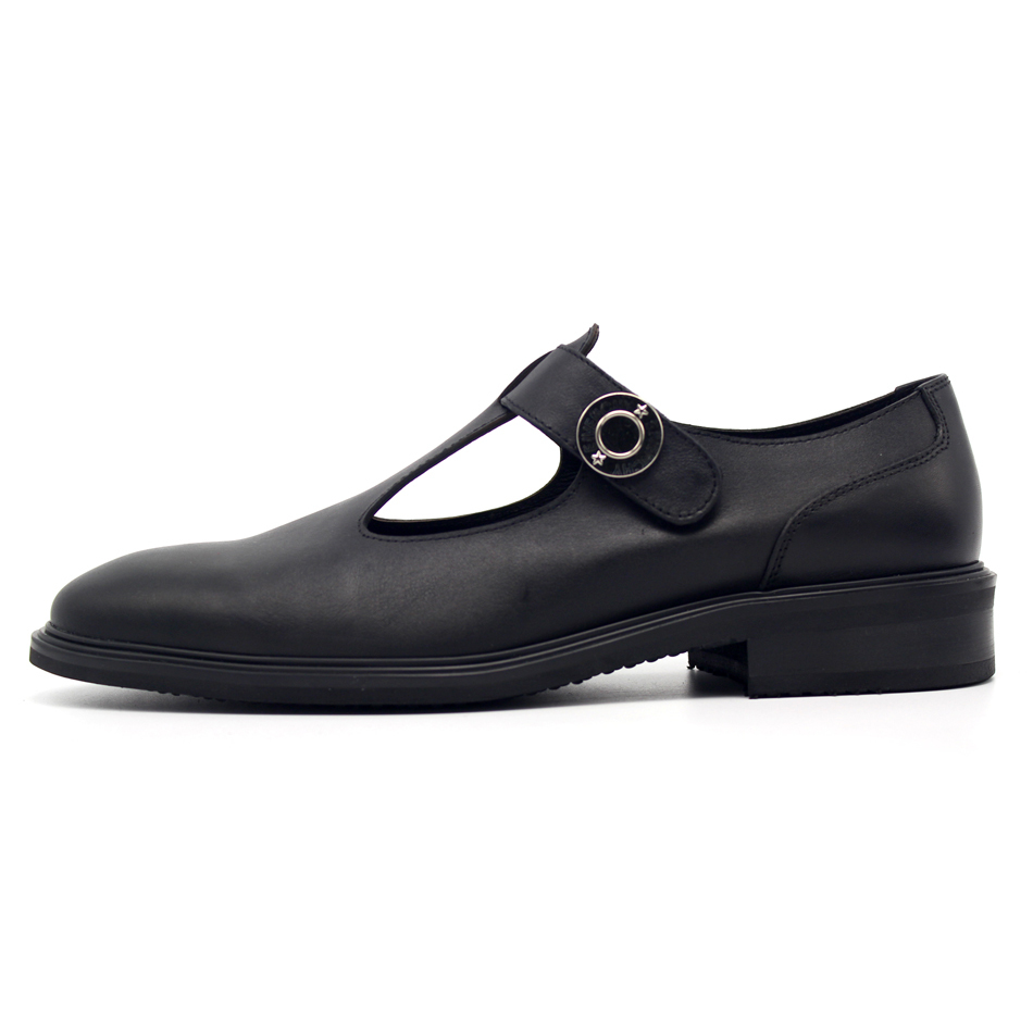 Italian Retro Mens Round Toe Block Low Heel Dress Sandals Hollow Out Runway Genuine Leather Male Shoes Gentleman Office Footwear