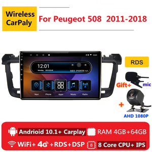 Image 1 - 2 din 8 core android 10 car radio auto stereo for Peugeot 508 sw 2011 2012   2018 navigation GPS DVD Multimedia Player carplay