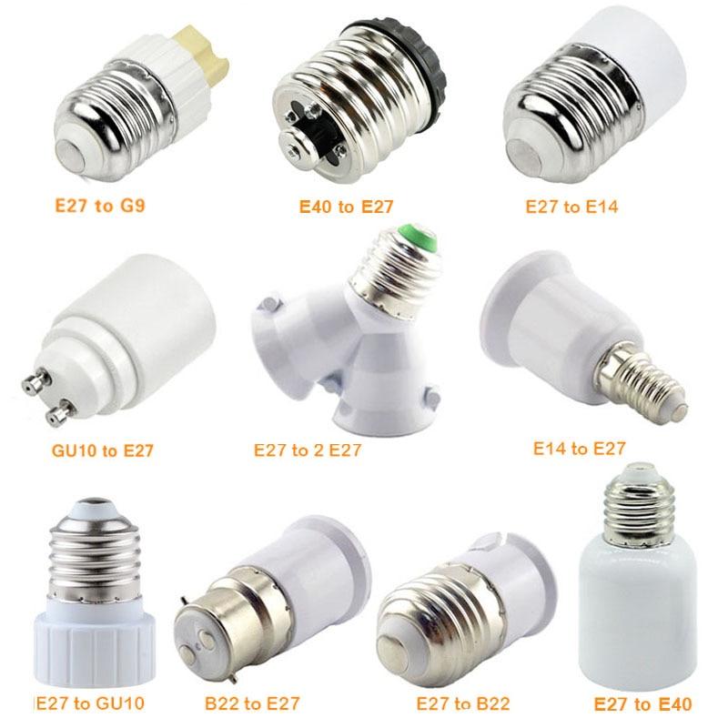 B22 G9 E27 E14 E40 Socket Bulb Extender Holder Light Adapter Base Bulb Plastic New Lamp LED Screw Sockets Fitting Converter