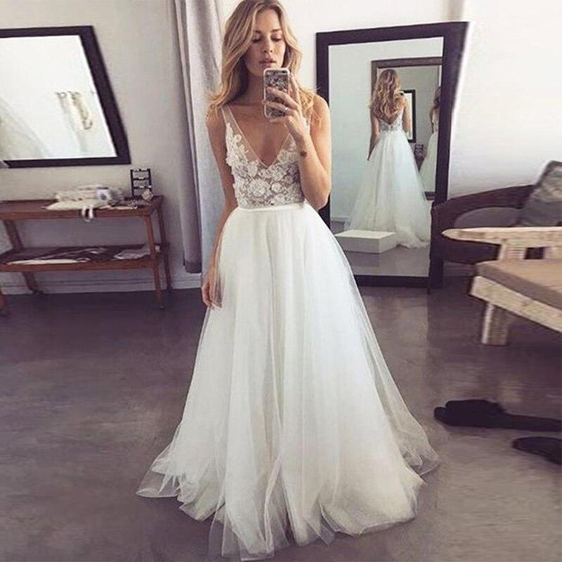 LORIE 2019 Popular V Neck Formal A Line Tulle Bridal Long Beach Wedding Dress White Ivory Bridal Gowns Illusion Vestido De Noiva