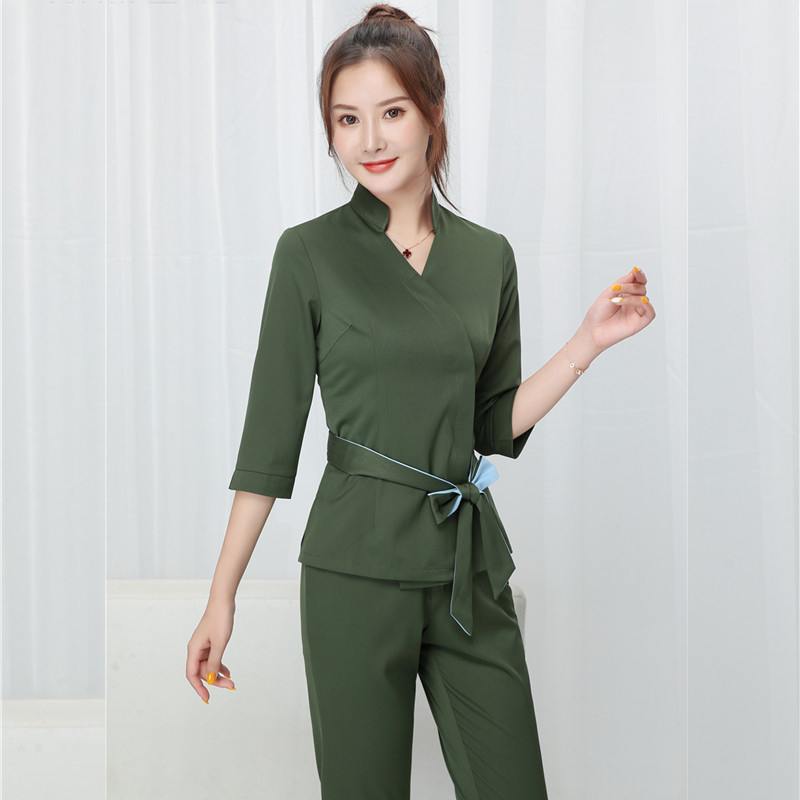 Women Beauty Salon Work Clothing Hotel Waiter Work Clothes SPA Uniform Autumn Seven-quarter Sleeve Sauna Foot Bath Uniforms