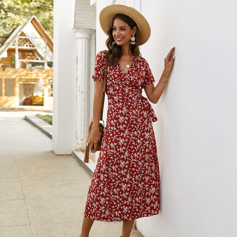 Elegant Floral Printed Boho Dress A-Line Ruffles V-Neck Short Sleeve Bow Sashes Ruched Midi Dress Women Casual Summer Dress 2020 1