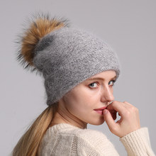 New Women's Hat Winter Beanie 70% Rabbit Fur Knitted Hat Angola Bonnet girls Real Pompom Fur Hat Fall Female Ski Cap(China)
