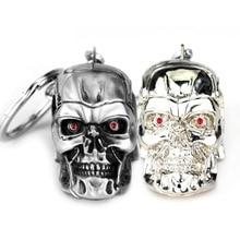 10pcs/lot Fashion Jewelry Silvery Jewelry Pendant Movie Terminator Skeleton Mask keychain Skull Key Ring For Men Car Key Chain