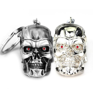 Image 1 - 10pcs/lot Fashion Jewelry Silvery Jewelry Pendant Movie Terminator Skeleton Mask keychain Skull Key Ring For Men Car Key Chain