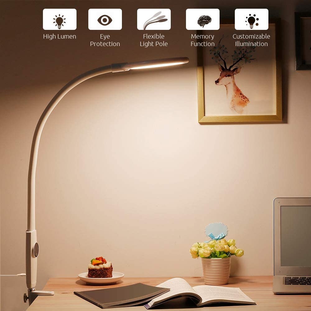 Flexible LED Desk Lamp Touch Control Dimmable Metal Clamp Light Table Lamps For Office Living Room Gooseneck Eye Care Study Lamp|Desk Lamps| - AliExpress