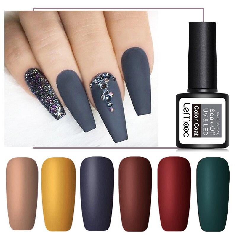 УФ-гель для ногтей LEMOOC 8 мл, Матовый верхний слой, Полупостоянный УФ-гель для ногтей, отмачиваемый УФ-Гель-лак для дизайна ногтей, гелевая кра...