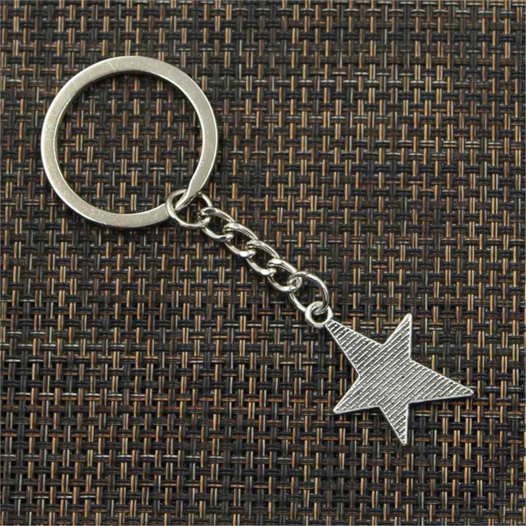 Moda Chaveiro 28x21 milímetros estrela pentagrama Pingentes DIY Jóias Cadeia Chave Do Carro Anel Titular Souvenir Para O Presente Dos Homens