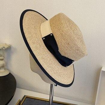 Sombrero Natural de barco de paja, sombrero plano de Panamá para mujer, sombrero de ala ancha de verano para playa con lazo, sombrero de rafia Derby en negro y rosa