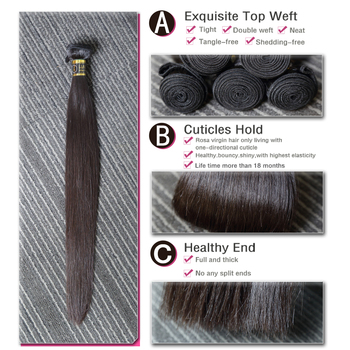 [Rosabeauty] OneCut Hair Straight 8-30 32inch H Brazilian Raw Virgin Unprocessed Hair Natural Color 100% Human Hair Weaving Bundles