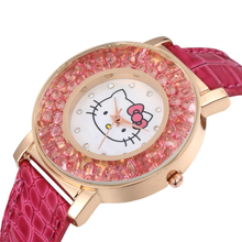 Reloj Kitty Kids Watch Cute pattern Pink Rhinestones Cartoon