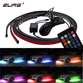 12V Car Chassis Flexible Strip Lights LED Remote /APP Control RGB Decorative Atmosphere Lamp Auto Chassis Underbody System Light 12v car rgb led drl strip light car auto remote control interior floor decorative flexible led strip atmosphere lamp fog lamp