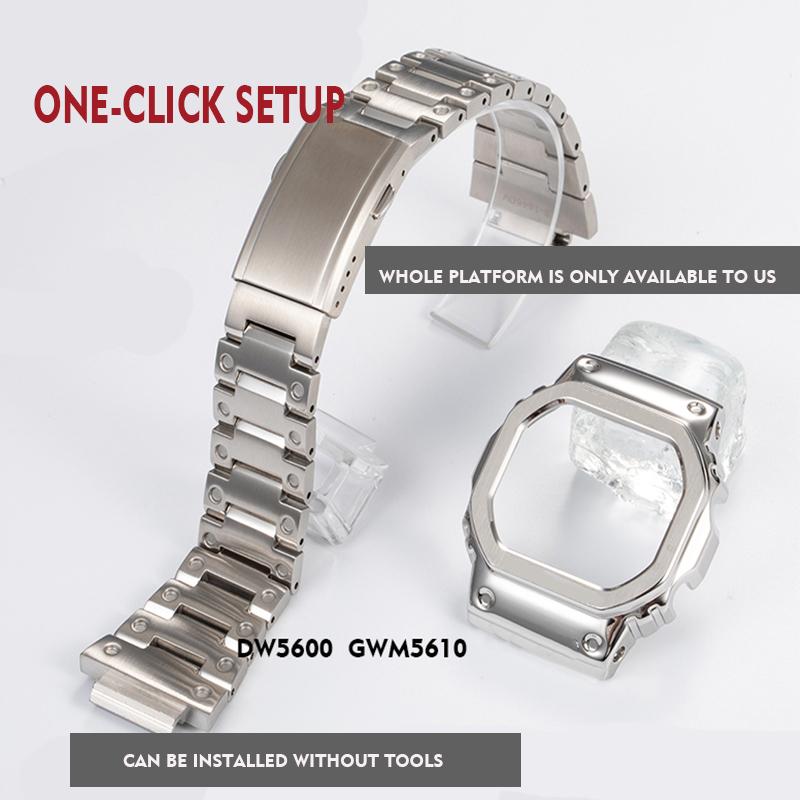 316L stainless steel watchband bezel/case DW5600 GW-M5610 metal strap steel belt tools for men/women gift watch band GW -B5600