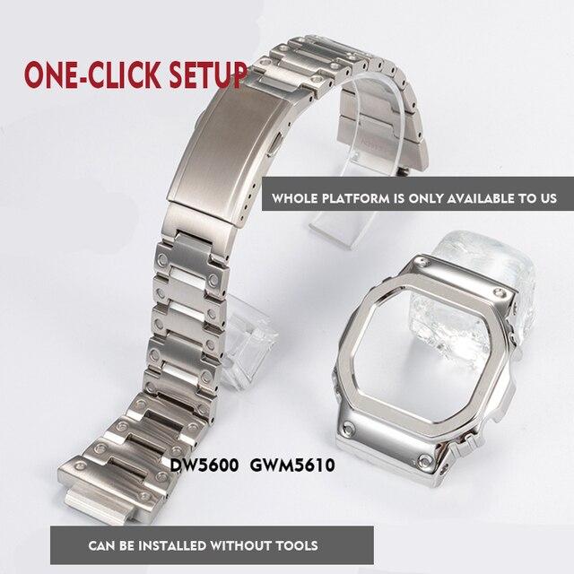 316l pulseira de aço inoxidável moldura/caso dw5600 GW M5610 pulseira de metal aço cinto ferramentas para masculino/feminino presente relógio banda gw b5600