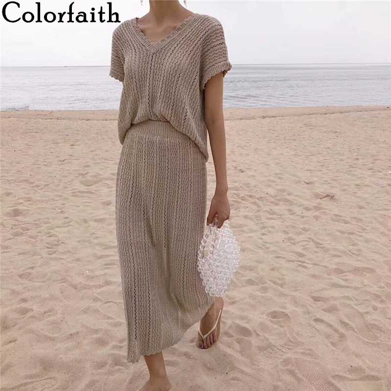 Colorfaith 2020 New Summer Woman 2 Piece Sets Matching Long Skirts High Waist Knitting Casual Fashionable Elegant Suits WS2883