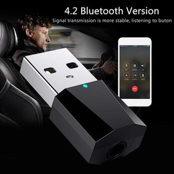 Mini 4 2 Bluetooth Audio odbiornik Adapter USB Bluetooth głośnik Bluetooth Audio Adapter Audio Audio Stereo AUX I6A3 tanie i dobre opinie siparnuo Radiowy Car Bluetooth player