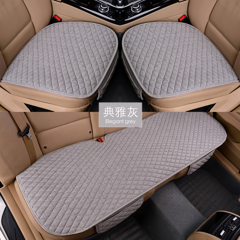 Flax Car Seat Covers Front Rear/ Full Set Linen Fabric Seat Pad Cover 8