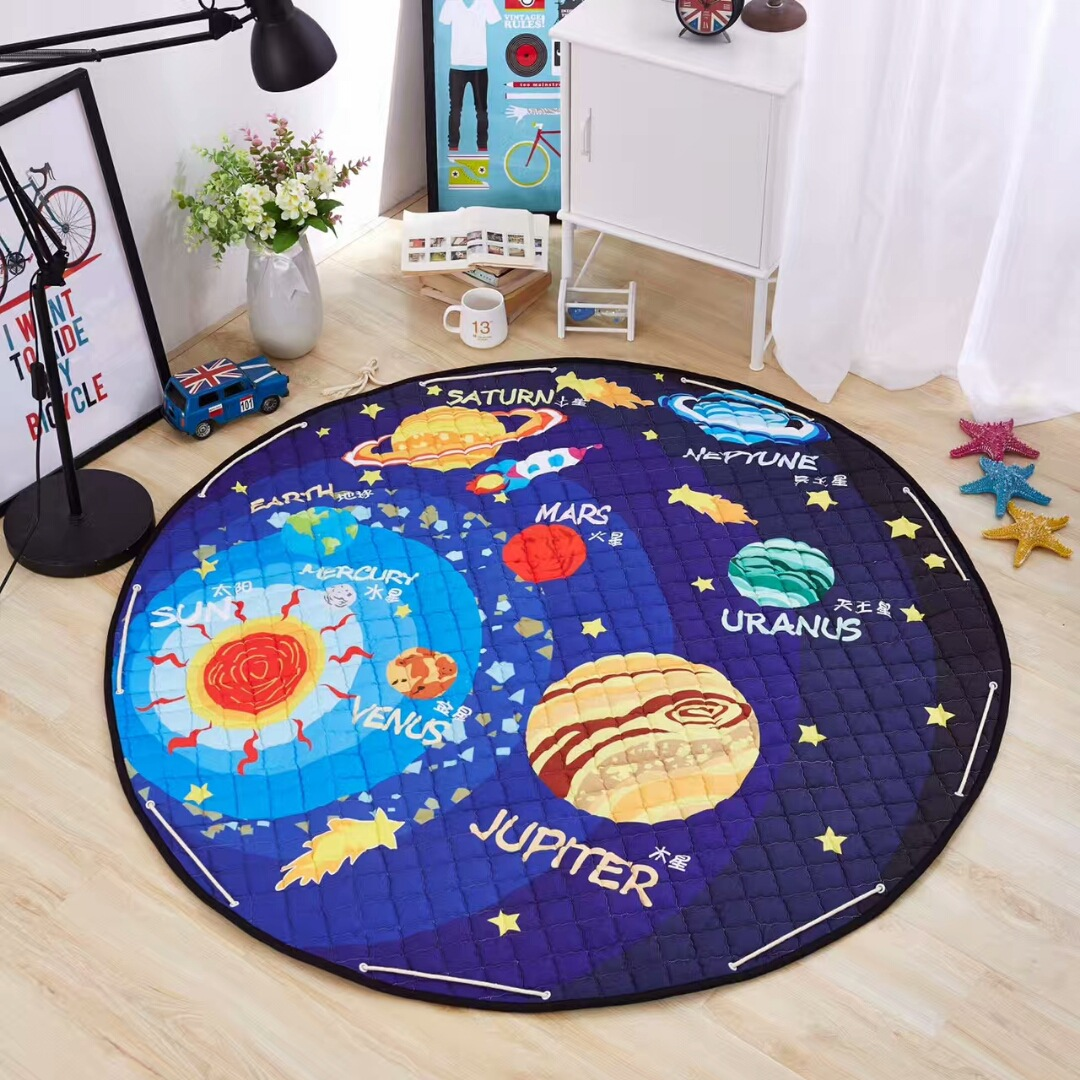 He759c7bae7cf477d92d1a0d8e89217db4 Kid Soft Carpet Rugs Cartoon Animals Fox Baby Play Mats Child Crawling Blanket Carpet Toys Storage Bag Kids Room Decoration