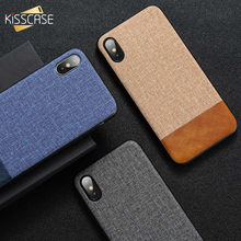 KISSCASE Leather Cloth Texture Case For iPhone 11 XS MAX XR X TPU Soft Cover Case For iPhone 7 8 Plus 5 5S SE 6 6S Plus Coque(China)