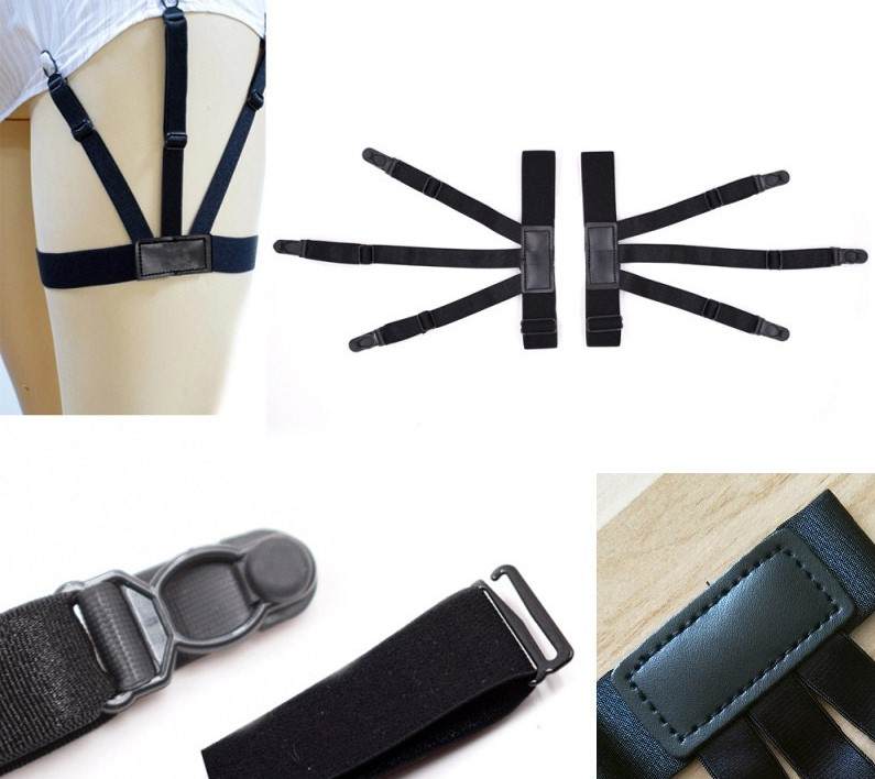 Shirt Suspender Garters-Strap Locking-Clips Stays-Belt Tucked Thigh 2pcs with Non-Slip