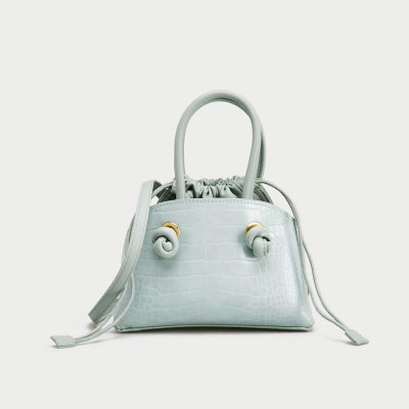 Macaron Color Crocodile Lemon Yellow Drawstring Top Handbag Shoulder Messenger Bag  Designer Totes Famous Brand Women Bags 2020