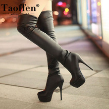 Taoffenプラスサイズ 33 46 セクシーなオーバー膝腿ブーツ女性秋冬ロングブーツ靴女性プラットフォームベルベットのブーツ