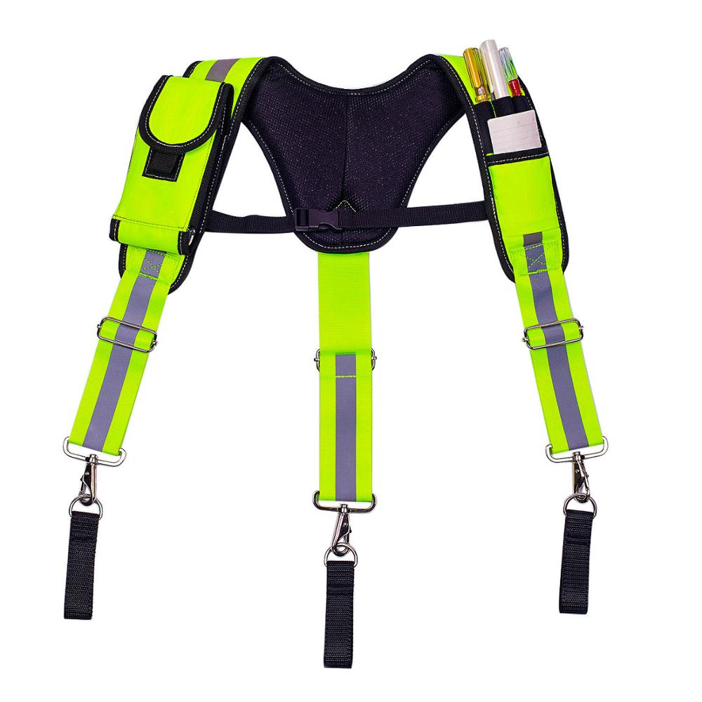 Men's Suspenders Heavy Duty Work Tool Suspender Hang Tool Pouch Fluorescent Green Reflective Straps Reducing Weight Braces Belt