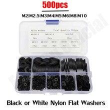 500 pces m2 m2.5 m3 m4 m5 m6 m8 m10 preto ou branco plástico arruela plana espaçador arruela selos junta anel