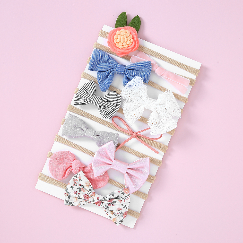 10Pcs//Set Cute Ribbon Bowknot Baby Girls Hair Ropes Lace Flower Headband NO BOX