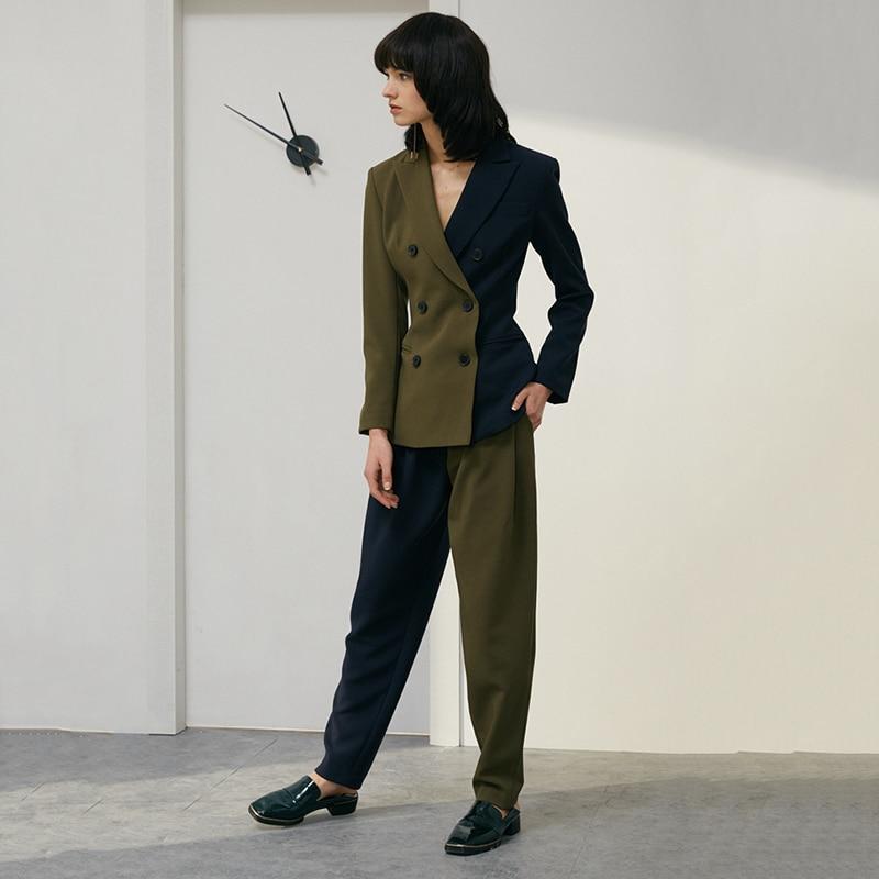 Tvvovwin 2019New Весна Лето Высокая талия соединены хит цвет зеленый короткие личности свободные длинные брюки женские брюки Мода C771 - 2