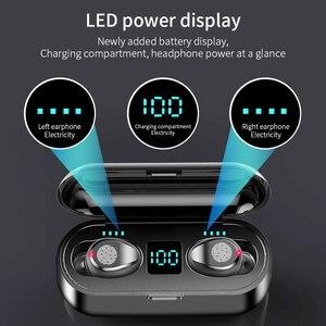 Image 3 - Auriculares TWS 5,0 inalámbricos por Bluetooth, auriculares estéreo deportivos para música, auriculares con cargador de batería LED de 2000mAh para iPhone, Samsung S9