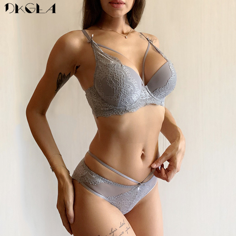 New Gray Bras Women Underwear Set Cotton Thick Brassiere Black Bandage Sexy Push Up Bra Panties Set Lace Lingerie Embroidery