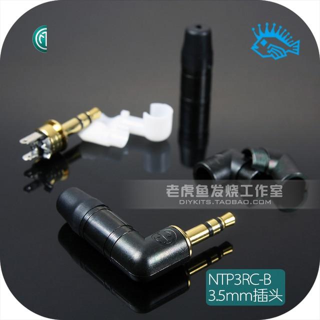 1pcs/5pcs Jack 3.5mm right angle headphone plug NTP3RC B Swiss Neutrik stereo black right angle gold plated version