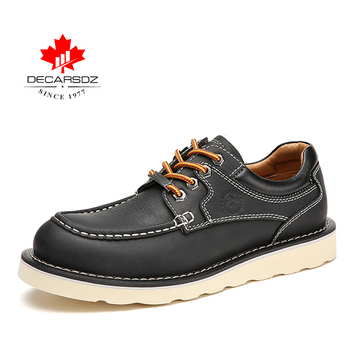 DECARSDZ Genuine leather Men Shoes Autumn New Comfy Lace-up Men Casual Shoes Man outdoor Durable outsole Men's Shoes Size 38-45 - DK-LWS-1001-1, 45