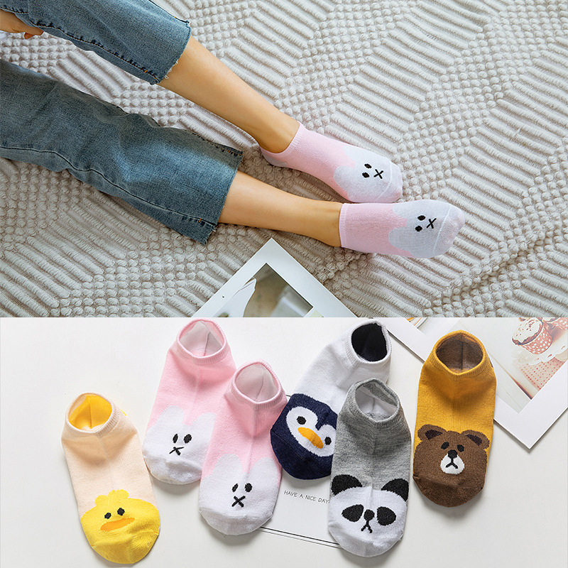 5 Pairs/lot Cute Harajuku Animal Socks Women Summer Korean Cat Bear Rabbit Funny Low Cut Ankle Sock Female Happy Sox