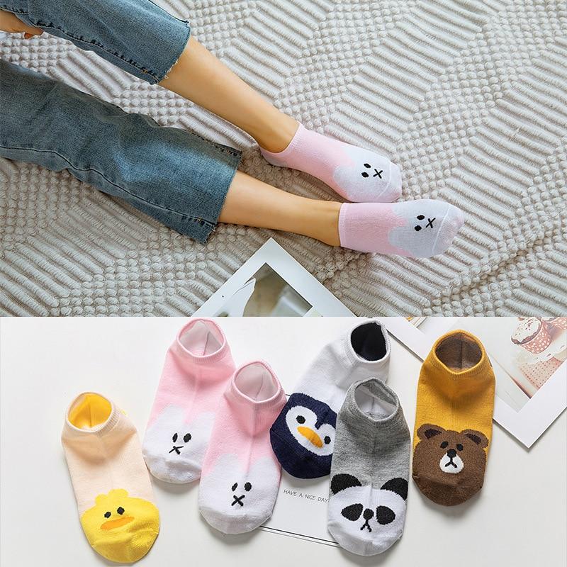 5 Pairs/lot Cute Harajuku Animal Socks Women Summer Korean Cat Bear Rabbit Funny Low Cut Ankle Sock Female Happy Sox