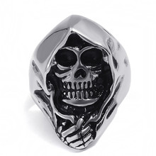 FDLK   Mens Jewelry Vintage  Gothic Punk Skull Biker Mens Ring, Black Silver - By Mate Rings 925 sterling silver black olive eyes skull mens biker rocker punk ring 9g203 us size 7 to 14