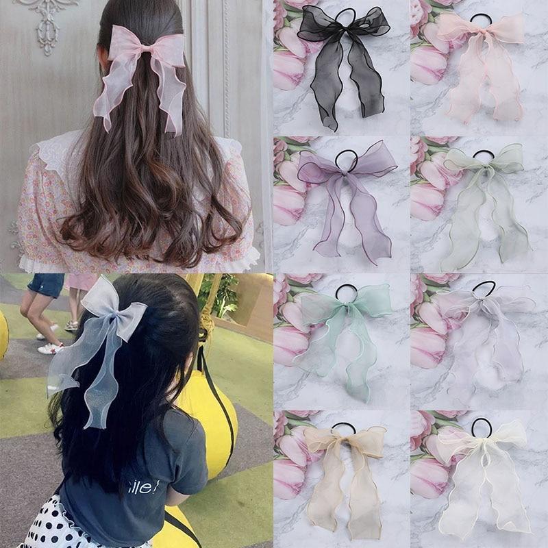 Sweet Bow Organza Streamers Hair Scrunchies Soft Gauze Ponytail Elastic Hair Ties Rope Women Ribbon Bands Girls Hair Accessories